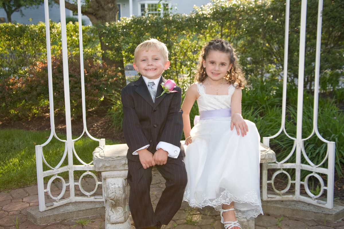 ring bearer and flower girl at gazebo