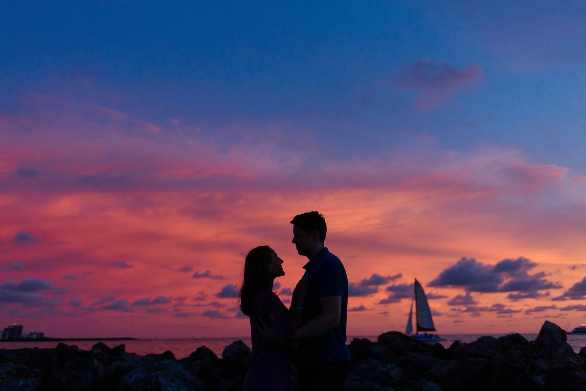 beach sunset engagement photos