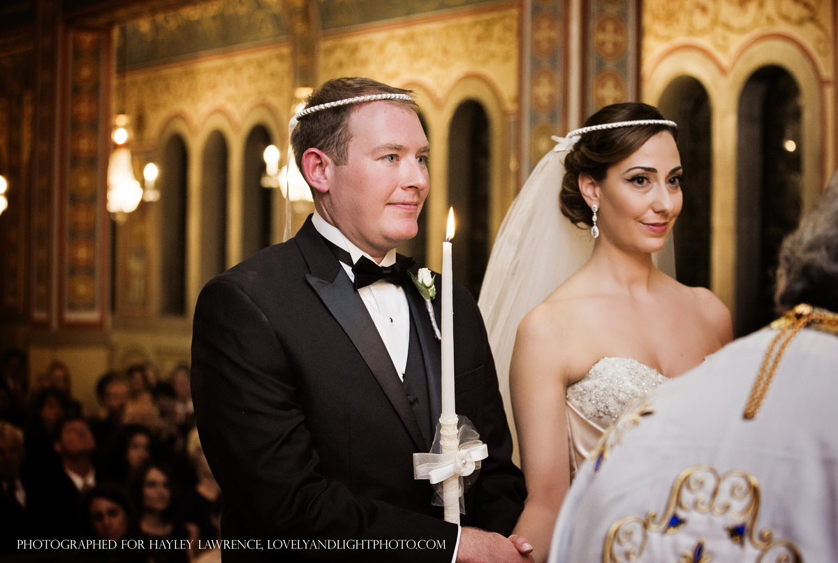 charlotte wedding photographer captures the bride and groom at Holy Trinity Greek Orthodox Church wedding