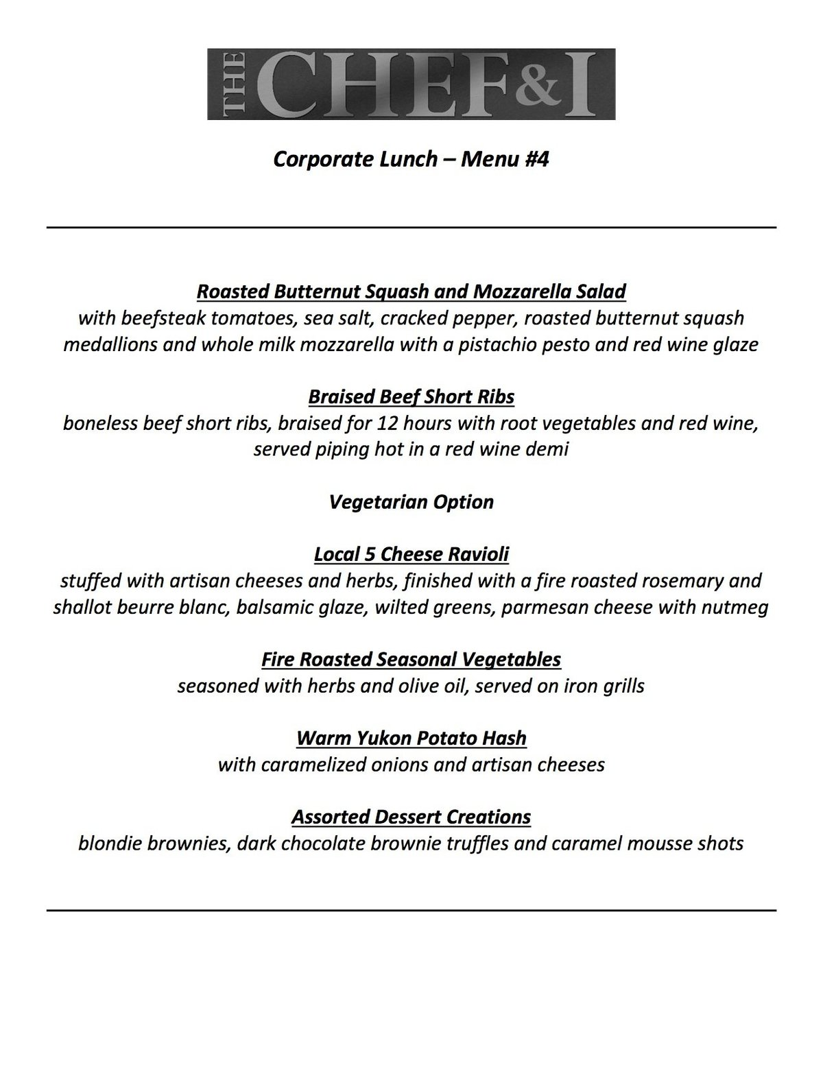 Corporate Lunch Menu 4