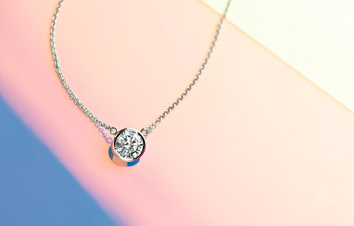 ara jewelers moissanite solitaire pendant white gold
