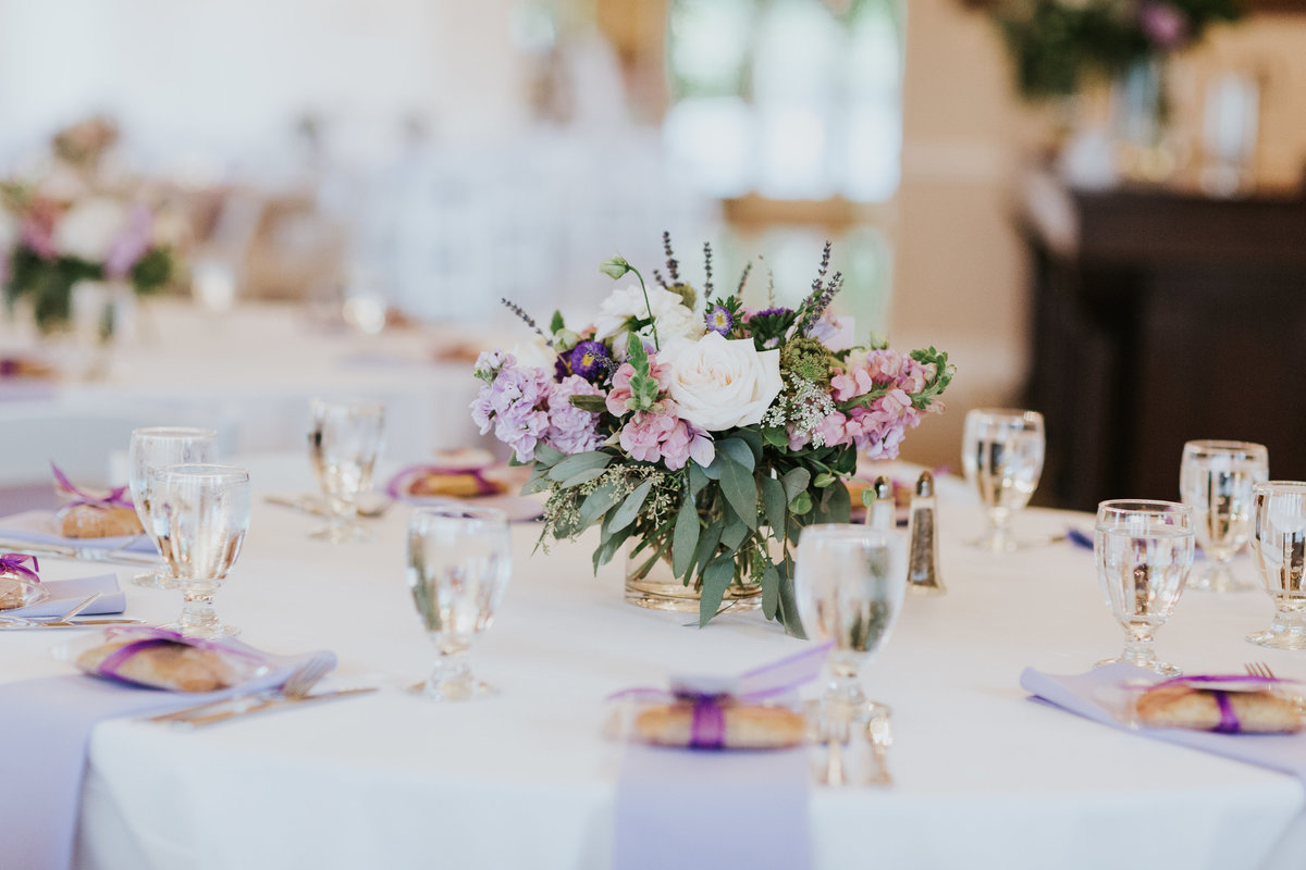 Lavender and white wedding flowers at Reception Bastyr Univeristy Chapel Hollywood Schoolhouse Woodinville