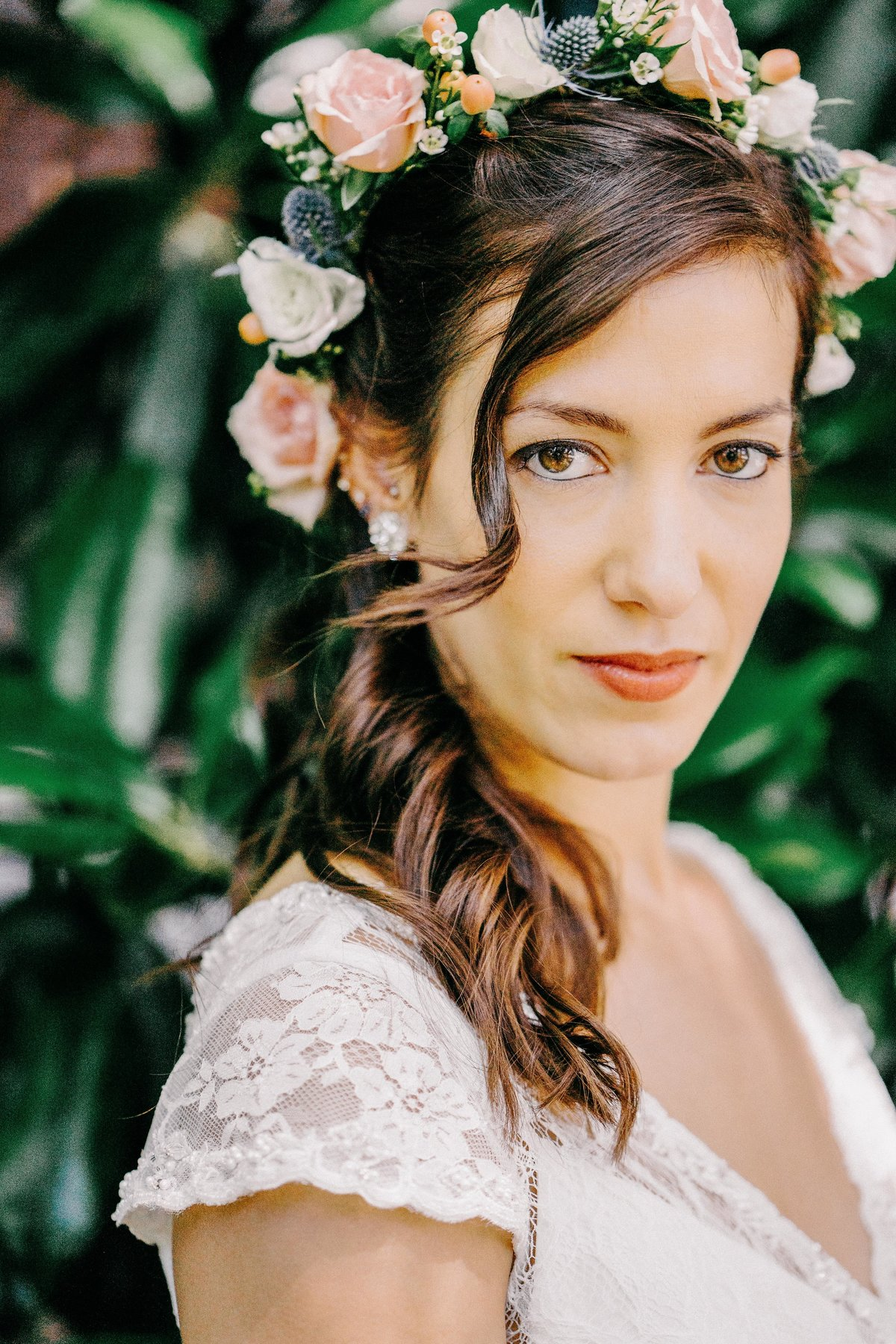 tropical bridal portrait flower crown
