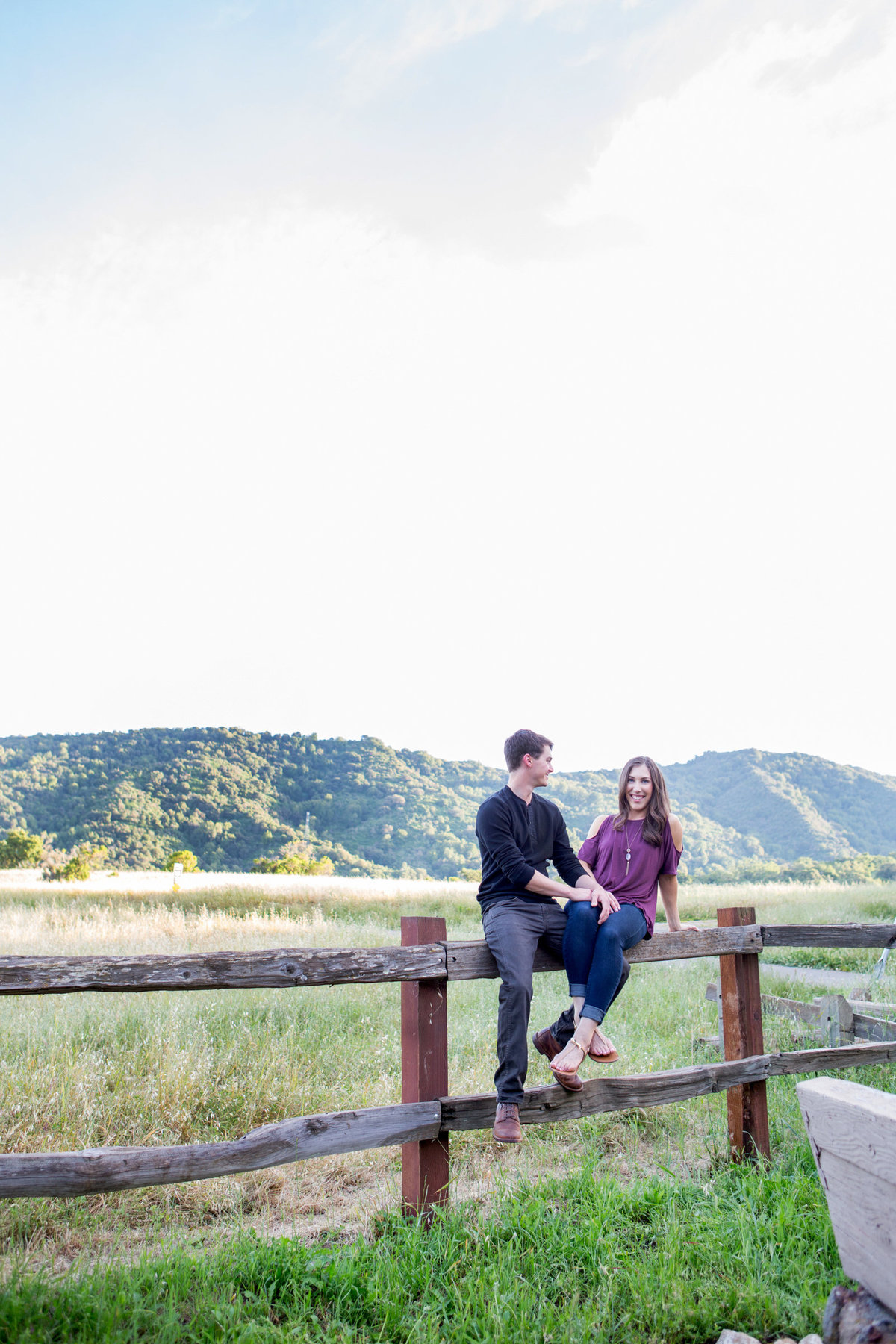 Natural light engagement session portraits greenery