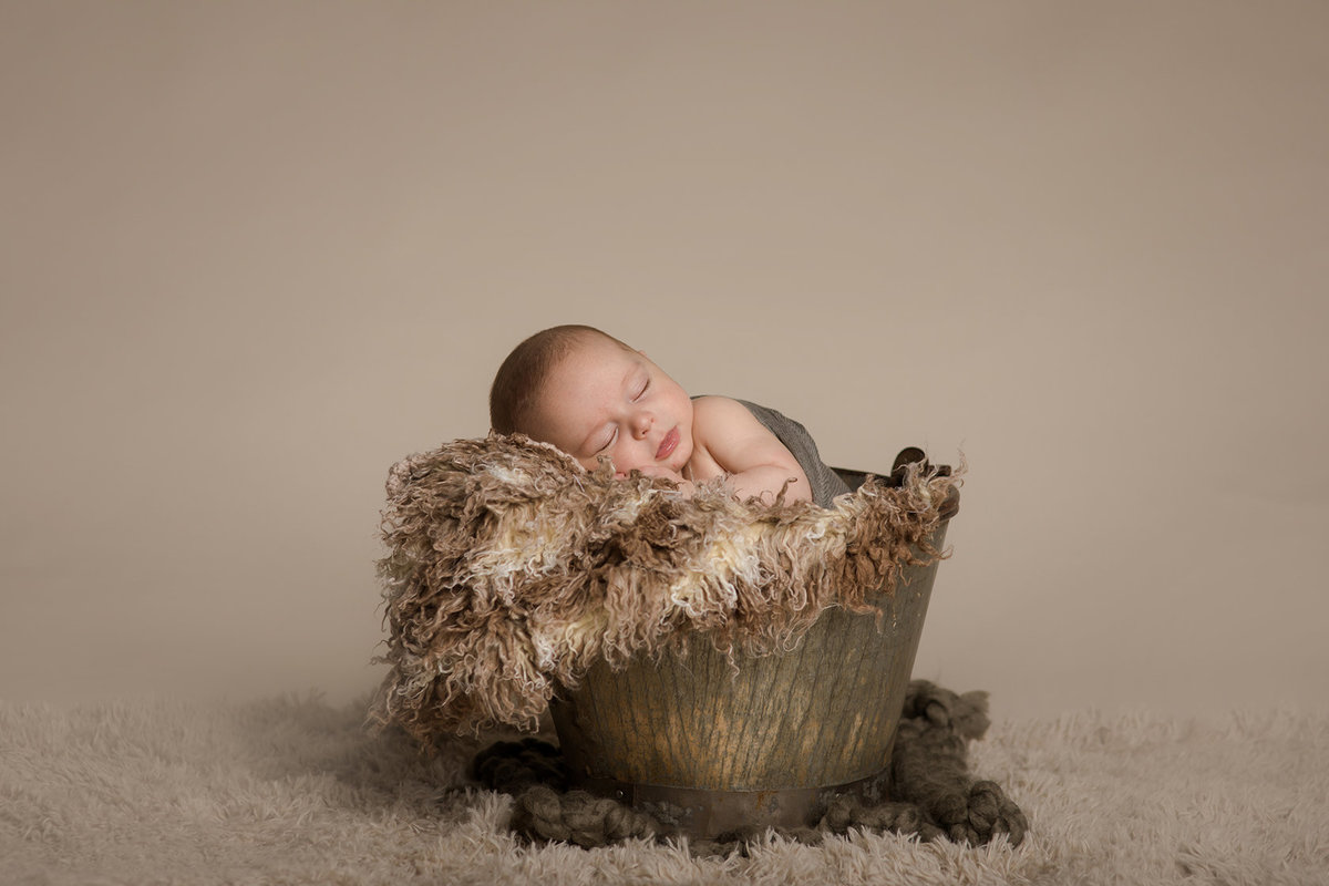 Baby Boy in bucket - newborn pose