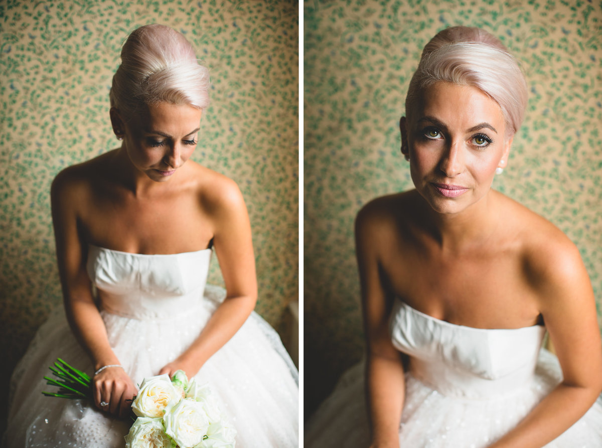 bridal portrait platinum hair modern vintage
