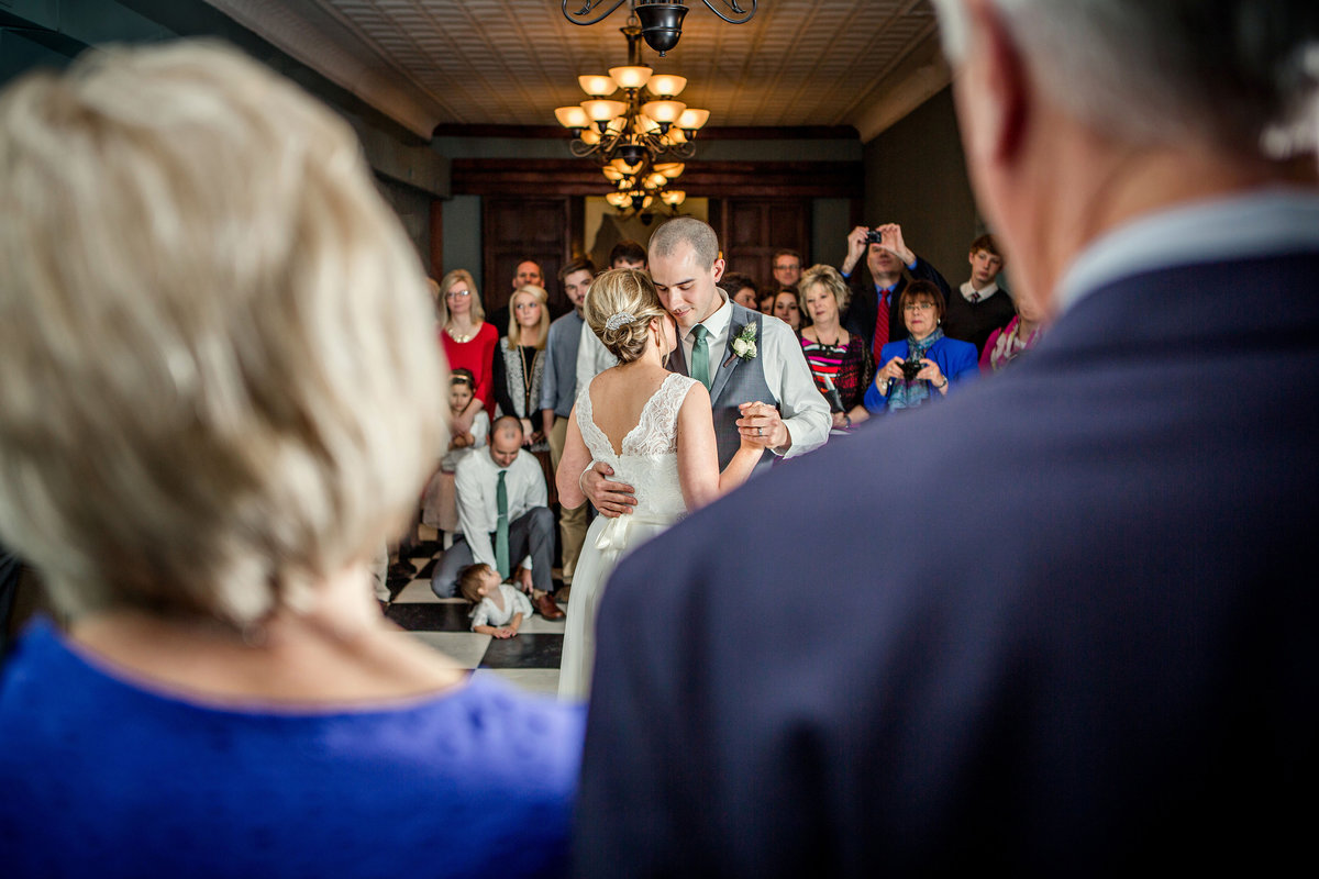 Bride and Groom's first dance as seen through the window of the bride's grandparents at Elizabeth Claire's wedding venue by Knoxville Wedding Photographer, Amanda May Photos