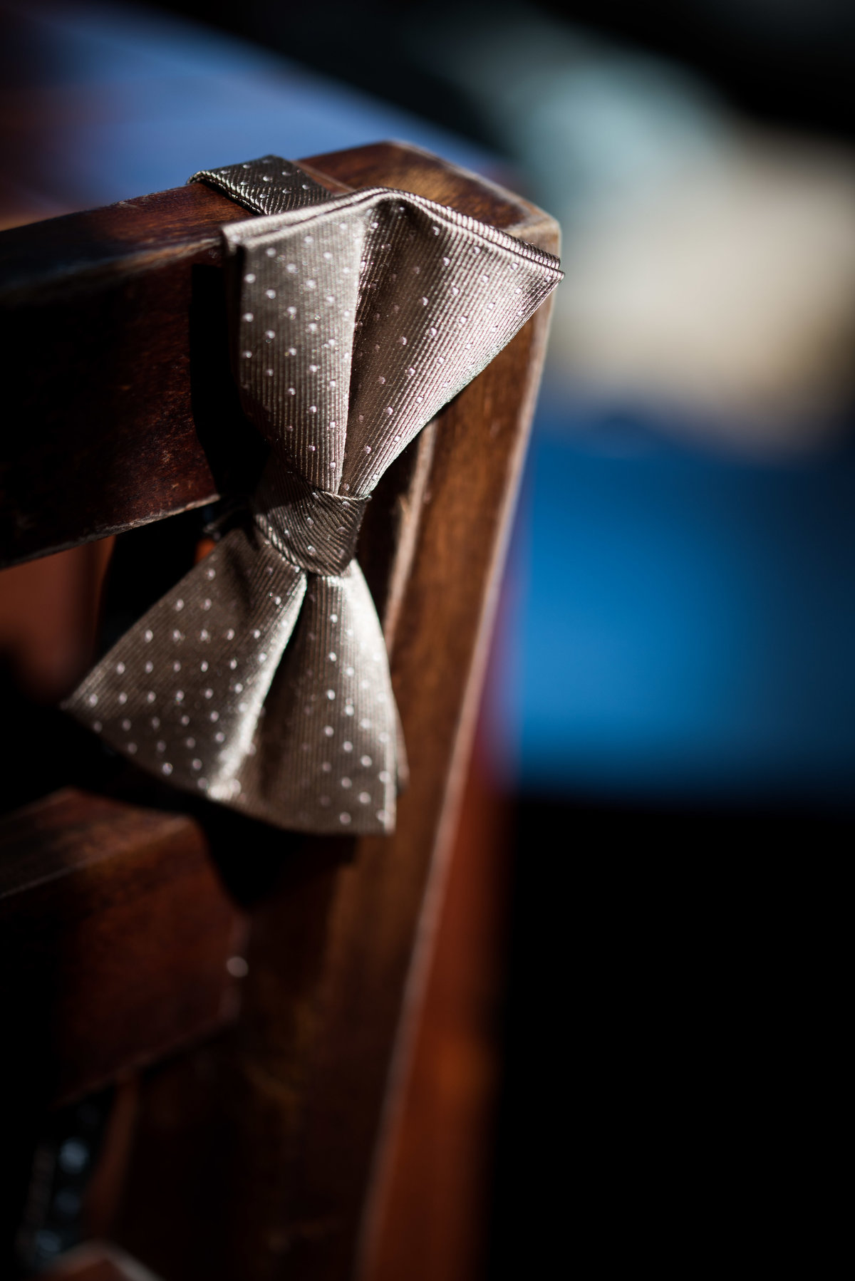 Bow tie for groom, Chicago wedding, detail.