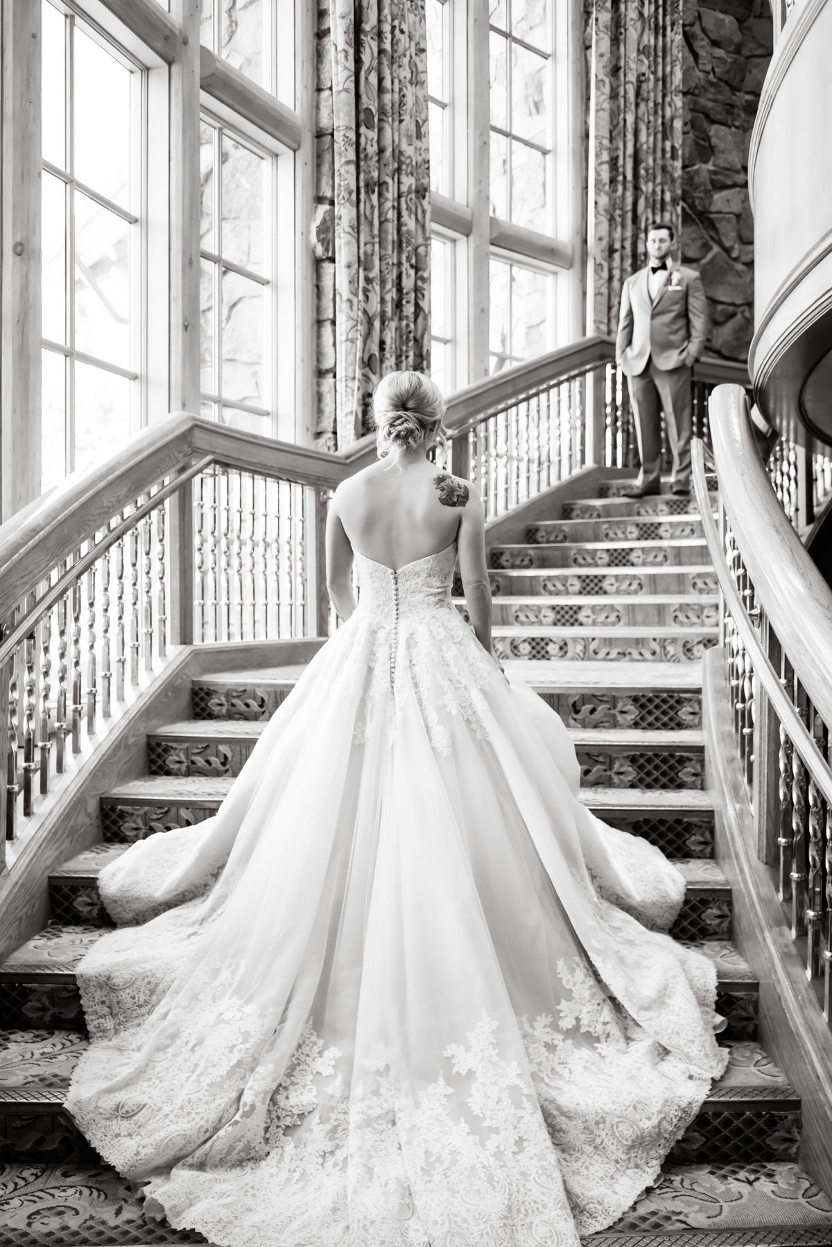 Morilee Wedding gown and an Elegant First Look at Snow basin Ski resort