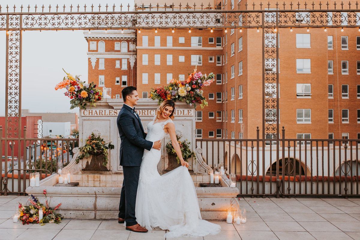 Downtown El Paso Live Rooftop Wedding Bride and Groom The Plaza Life In Tandem Photography-18
