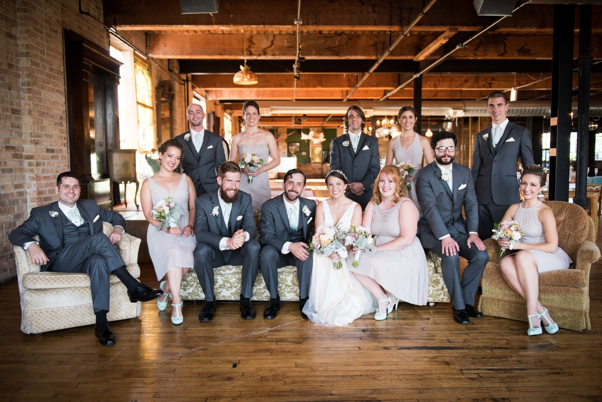 Bridal party group shot, Salvage One, Chicago, IL.