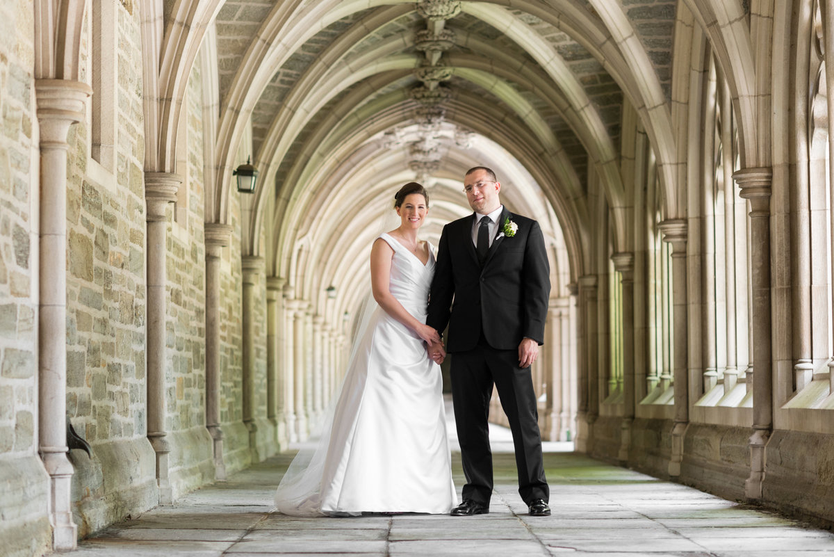 A wedding couple on the campus of Princeton University.