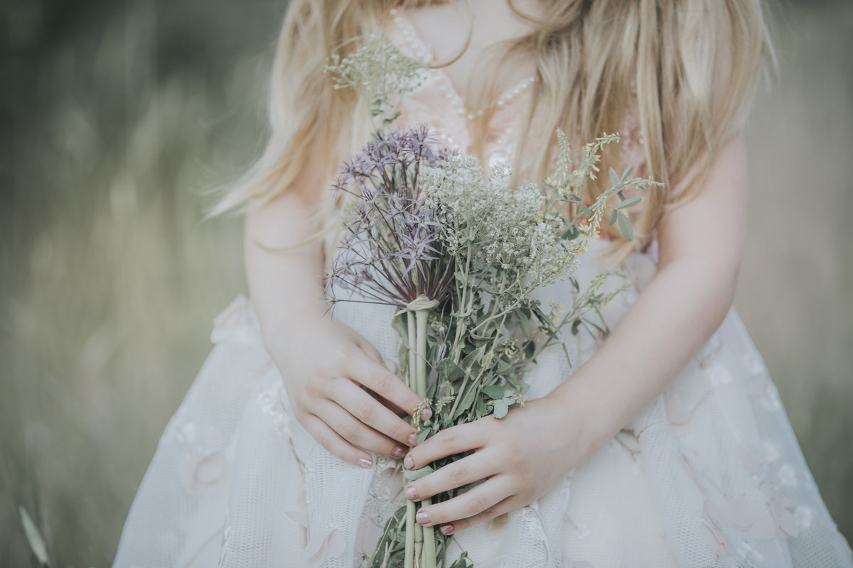 Little Girl Holding Flowers Utah Photographer