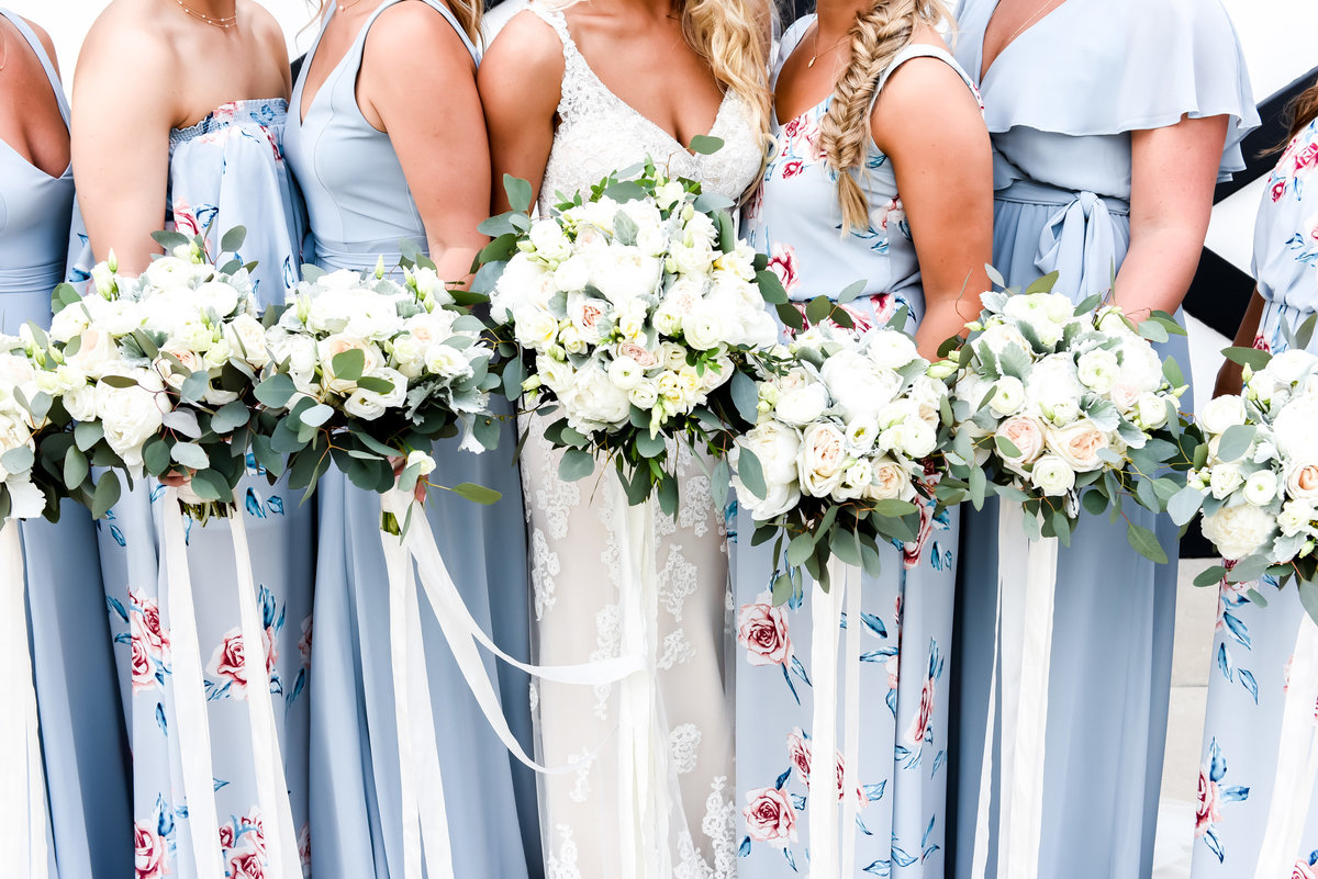 Bridal party in blue bridesmade dresses. MOunt Ida Farm Wedding venue. Richmond and Charlottesville wedding photographers