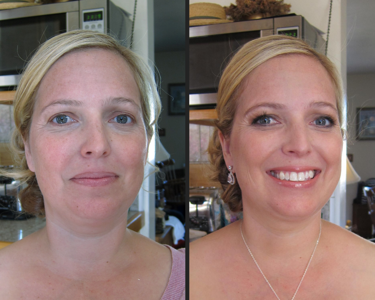 before and after makeup blonde blue eyed bridesmaid