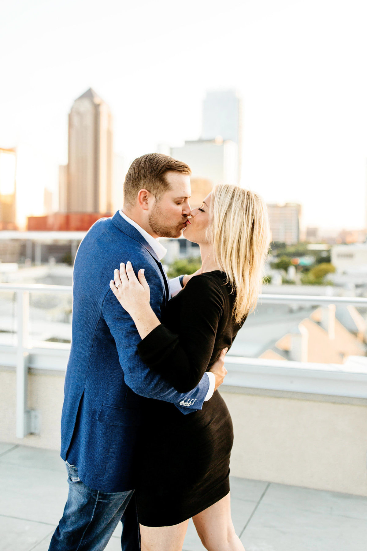 Eric & Megan - Downtown Dallas Rooftop Proposal & Engagement Session-93