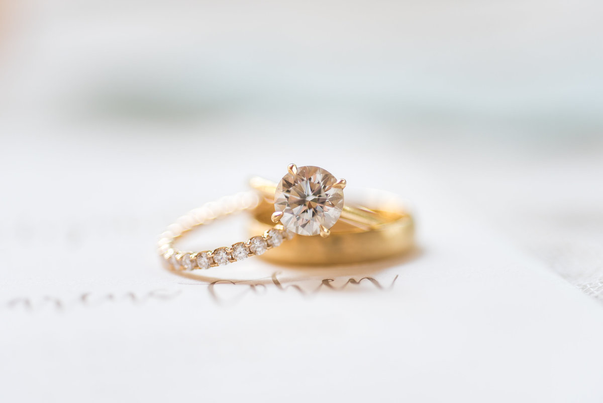 white diamond ring with gold band