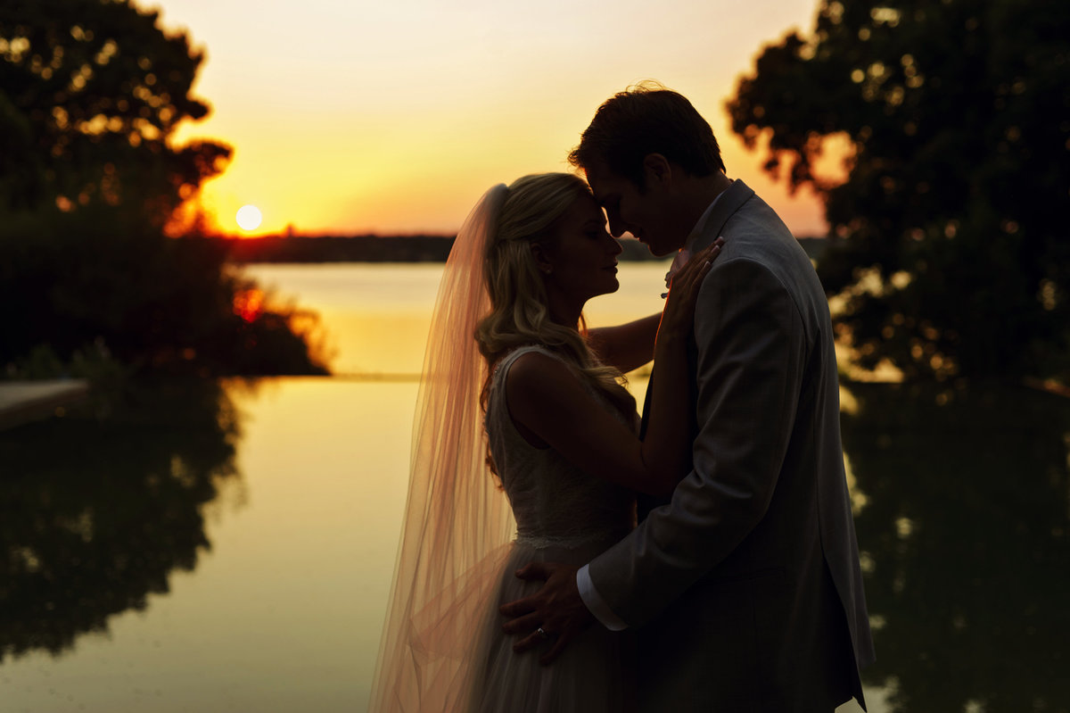romantic sunset wedding photo by DFW wedding  photographer Celina Gomez