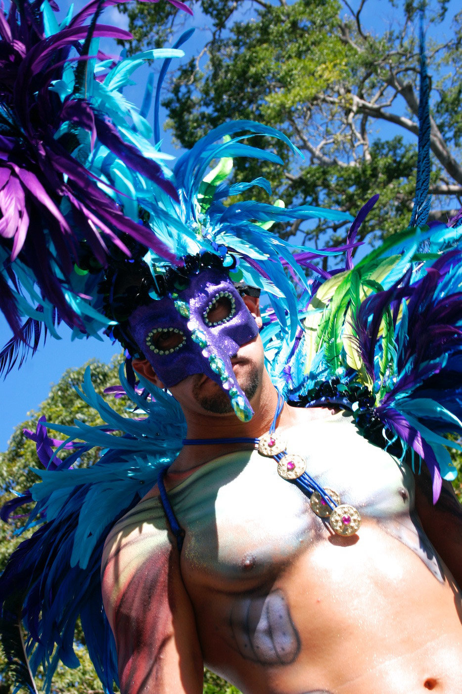 Portrait of male Trinidadian carnival masquerader. Photo by Ross Photography, Trinidad, W.I..