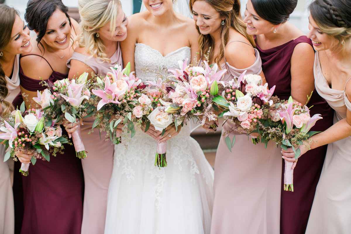 Pink and Wine Bridesmaid dresses