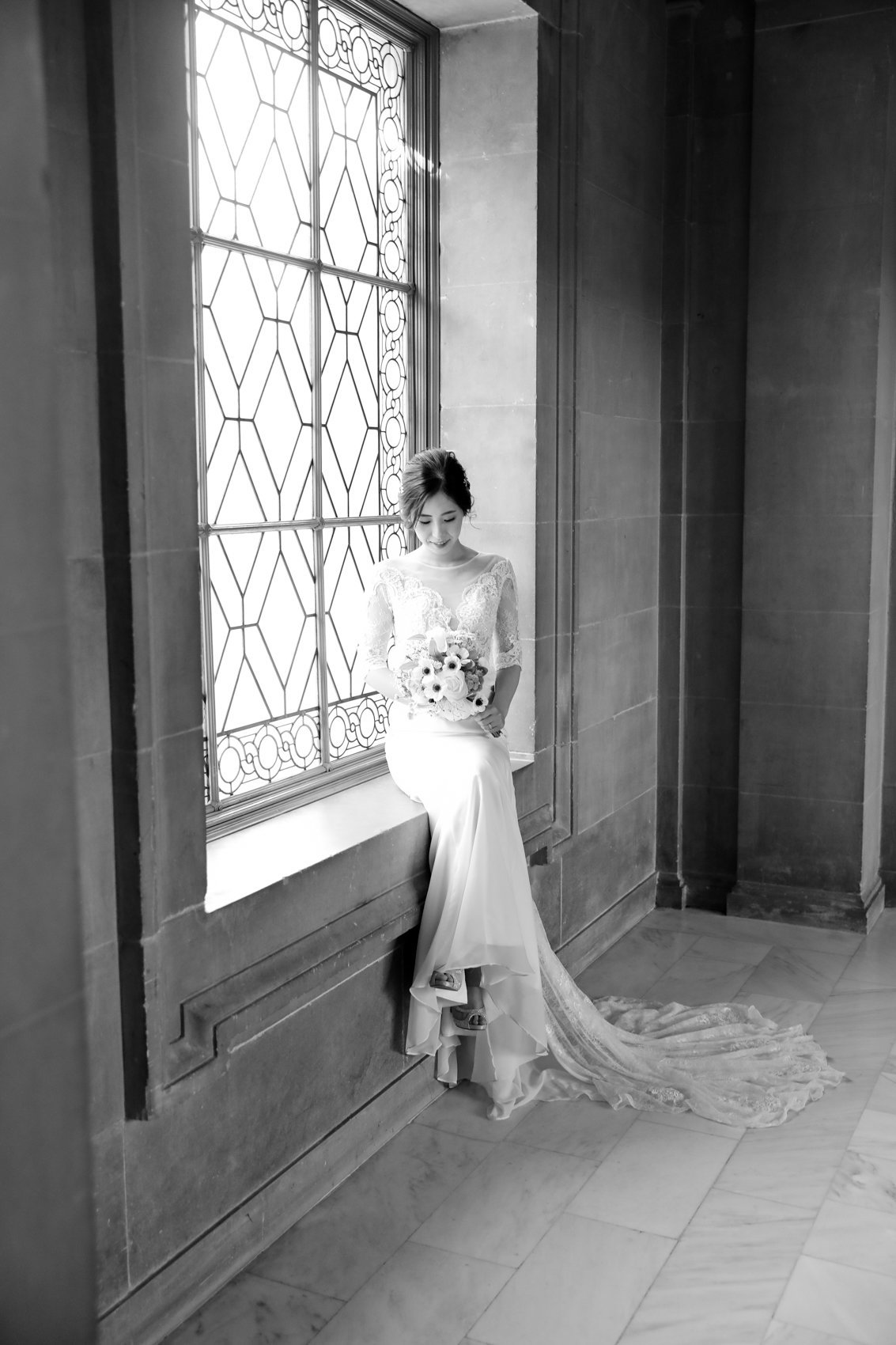 San Francisco City Hall Wedding portraits, Bride in front of window