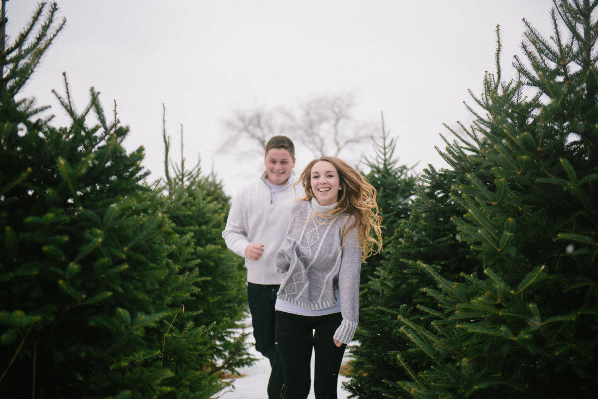 MN Winter Engagement in a Tree Farm