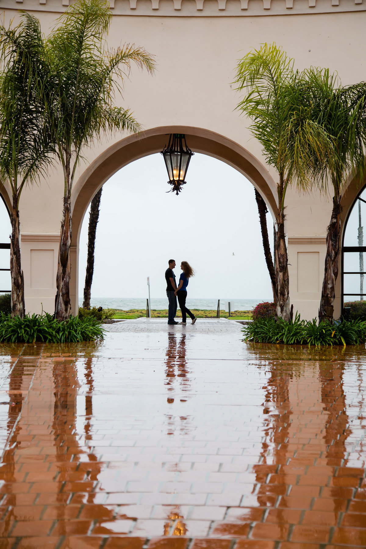 rainy engagement photos california