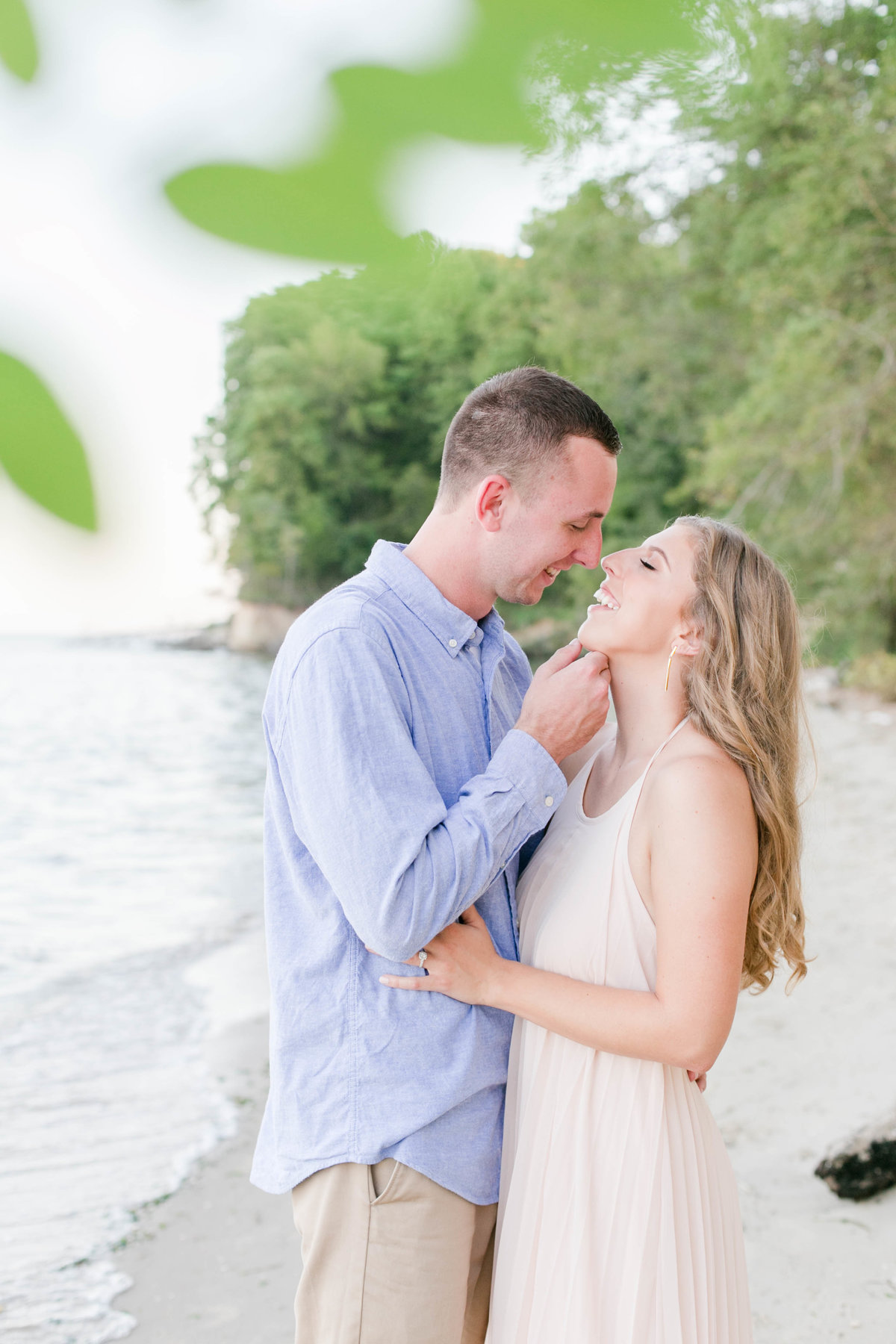 engagement session on the beach at calvert cliffs