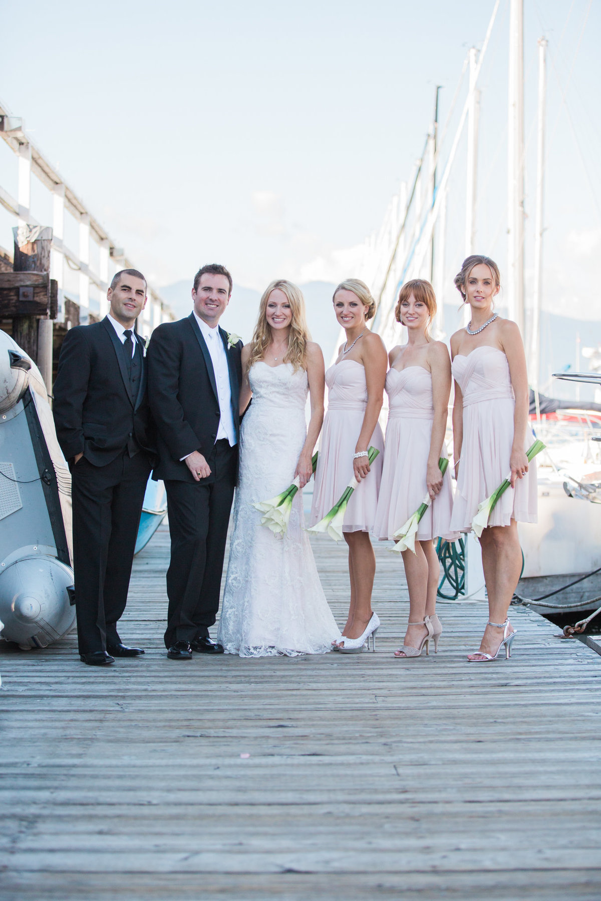 Bridal party at  Vancouver Yacht Club wedding