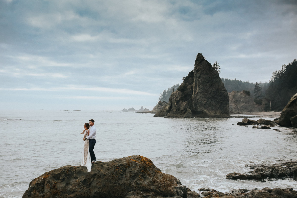 Grace Loves Lace wedding dress in this elopement portrait of a bride and groom in the Olympic National Park.