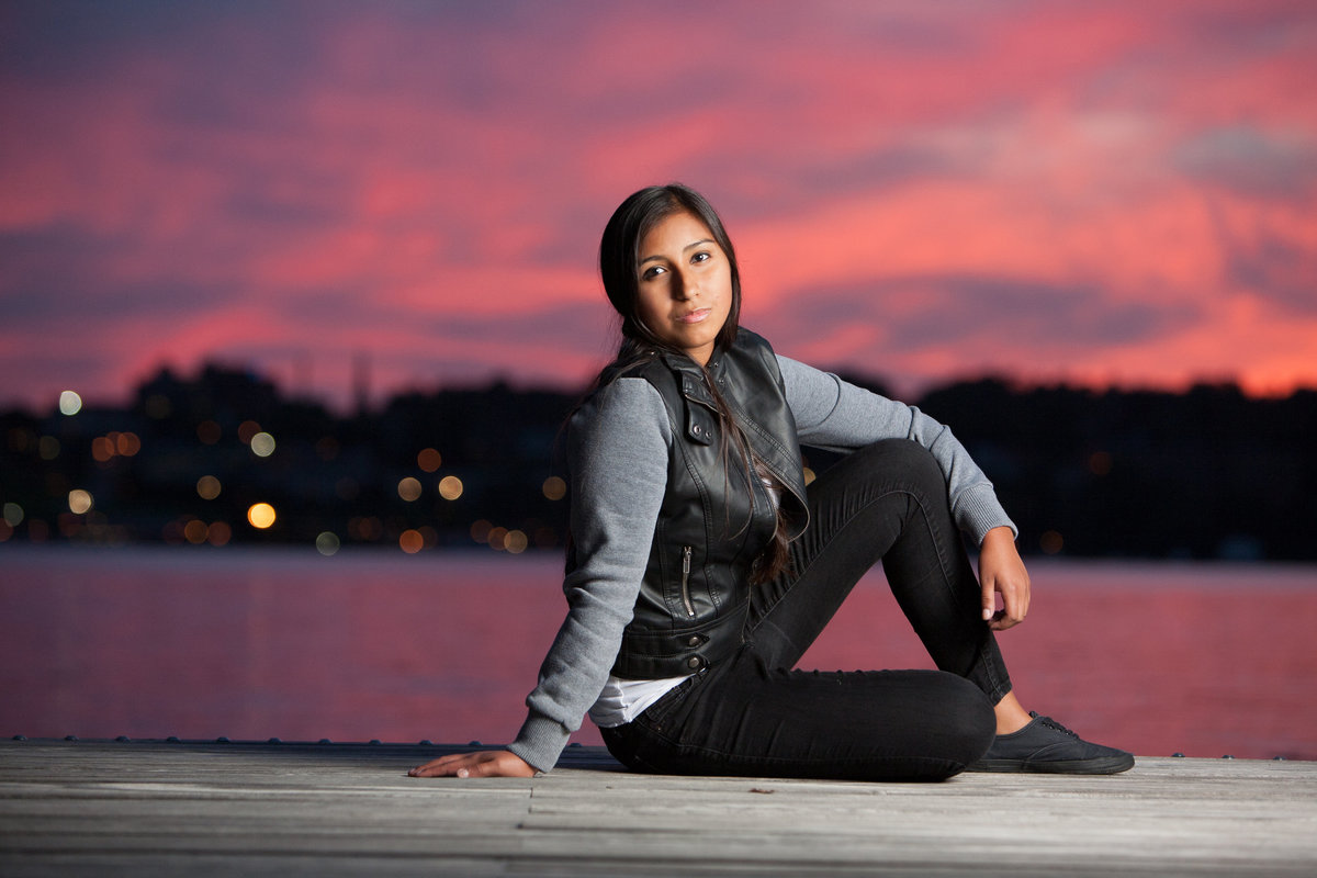 High school senior graduation portraits outdoor casual photos sunset at the Beacon NY waterfront Hudson Valley professional photographer