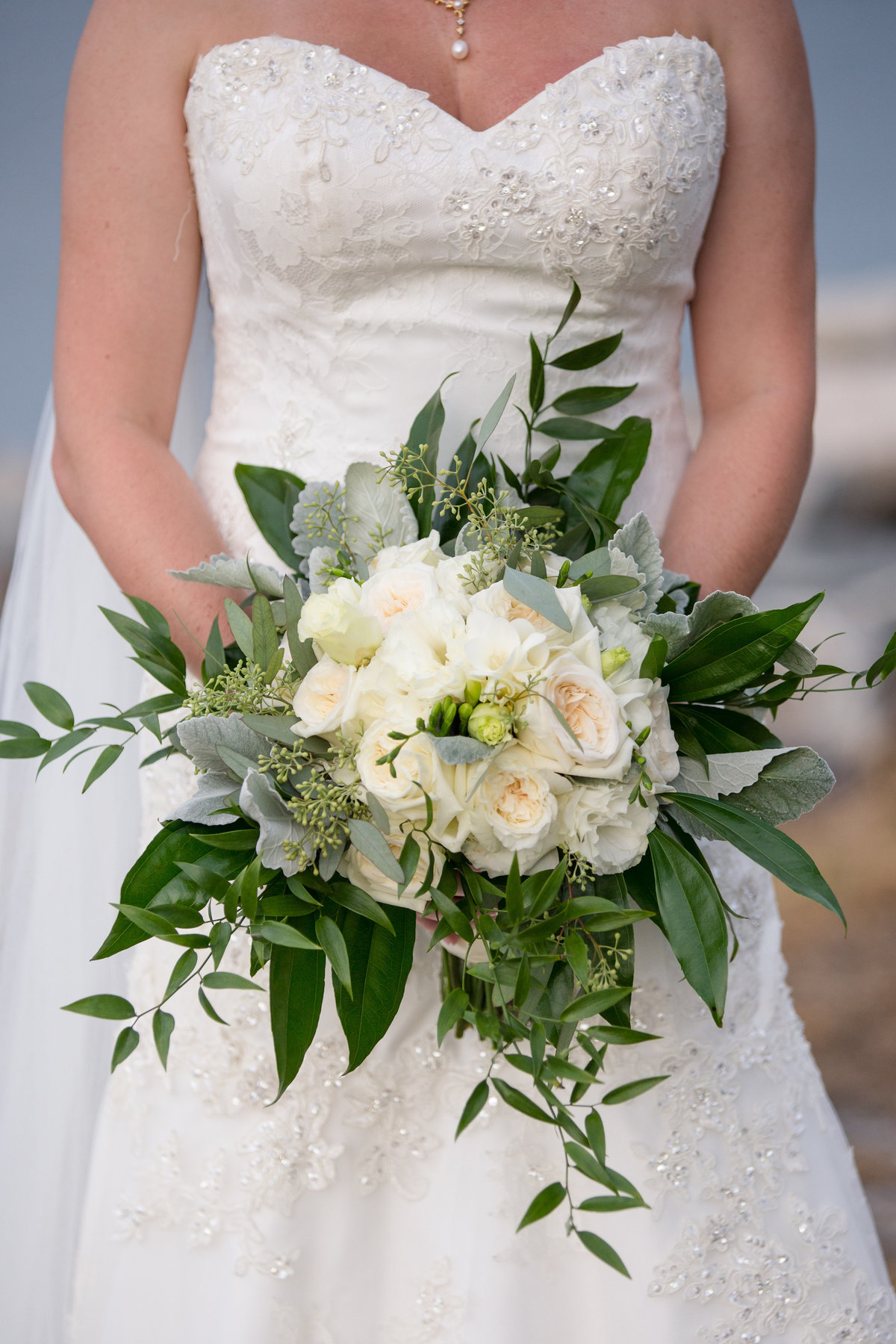 bridal bouquet with grennery