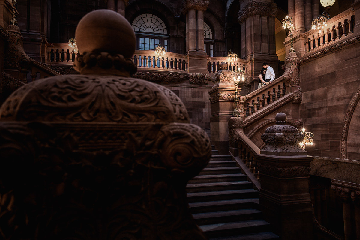 Albany Engagement Session - Million Dollar Staircase