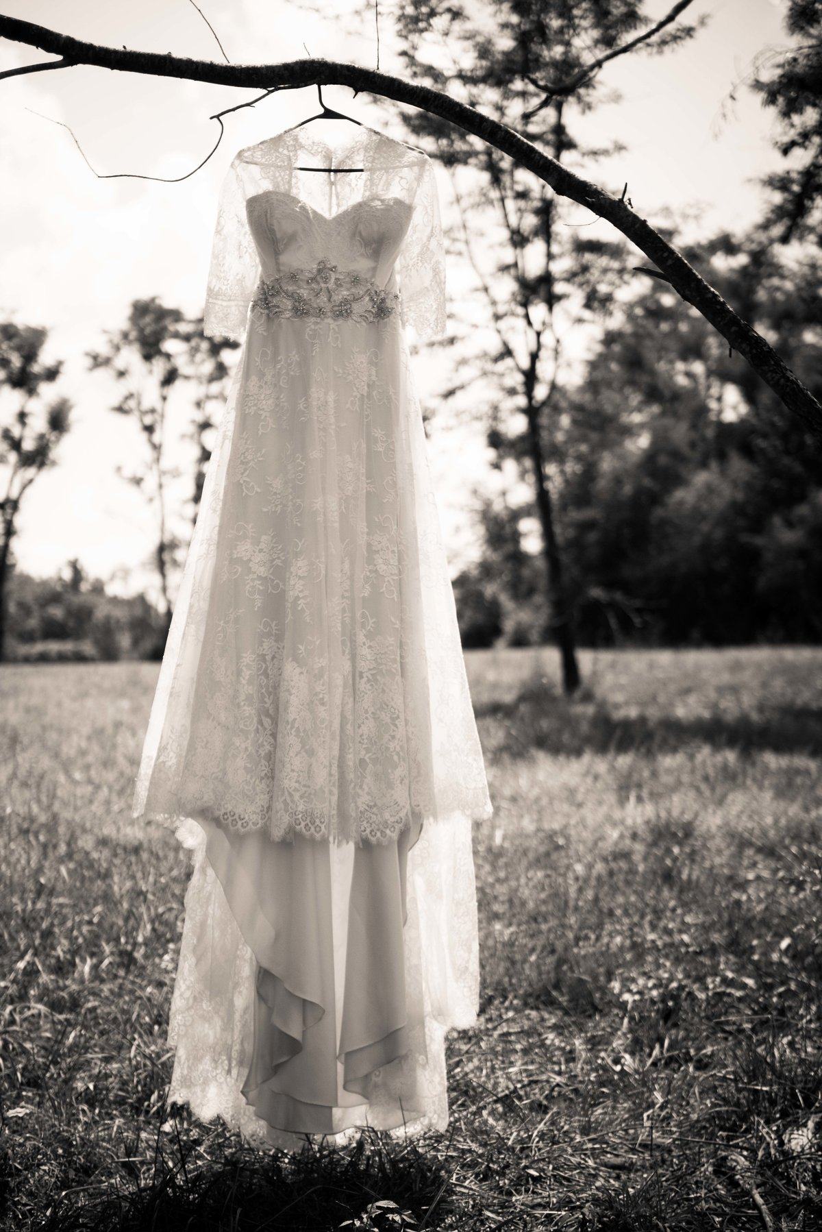 Wedding dress detail, hanging, Hocking Hills OH.