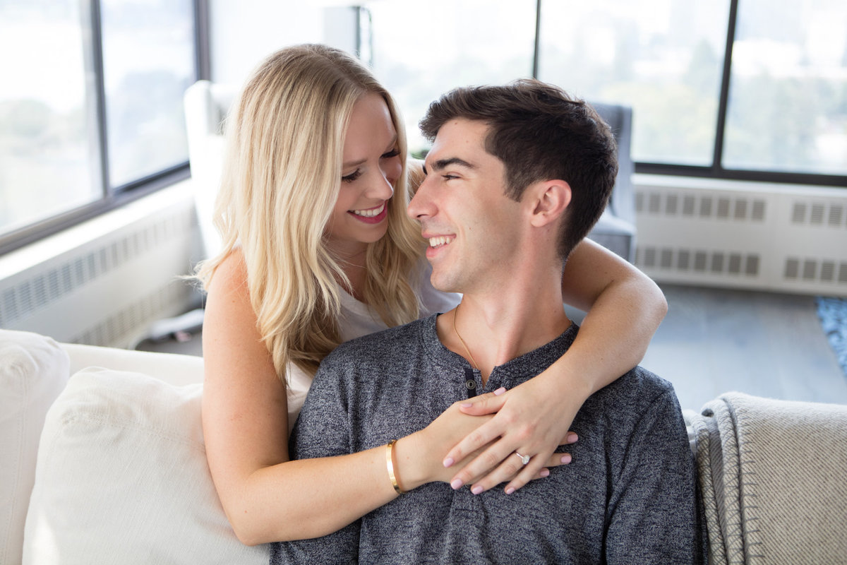 San Francisco Engagement Photos in the Comfort of their Home in a High Rise Apartment