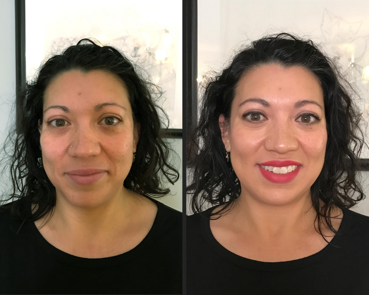 before and after makeup on mixed race female with green eyes brunette red lips and lined eyes