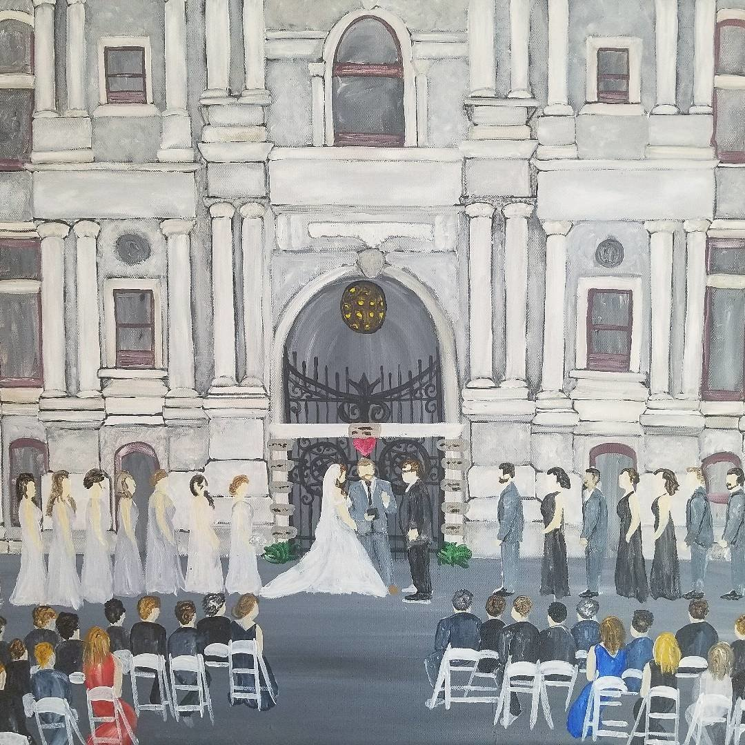 Completed live painting of wedding outside Philadelphia City Hall