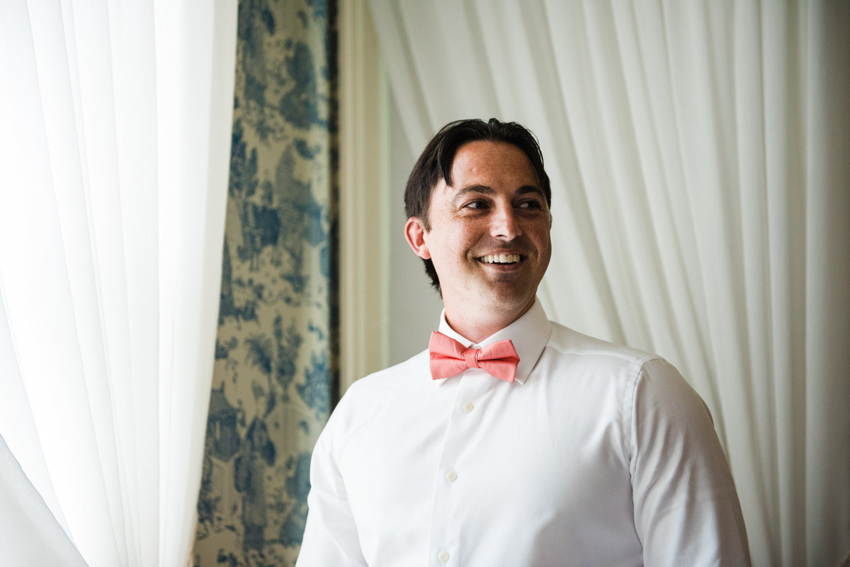groom with bowtie, elegant mansion wedding