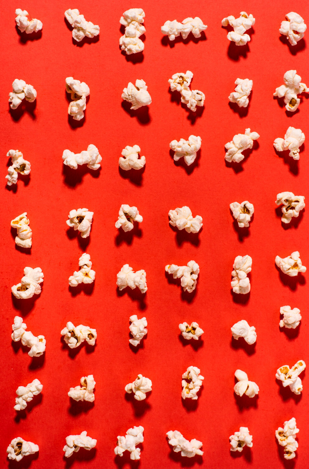 tiled popcorn on red