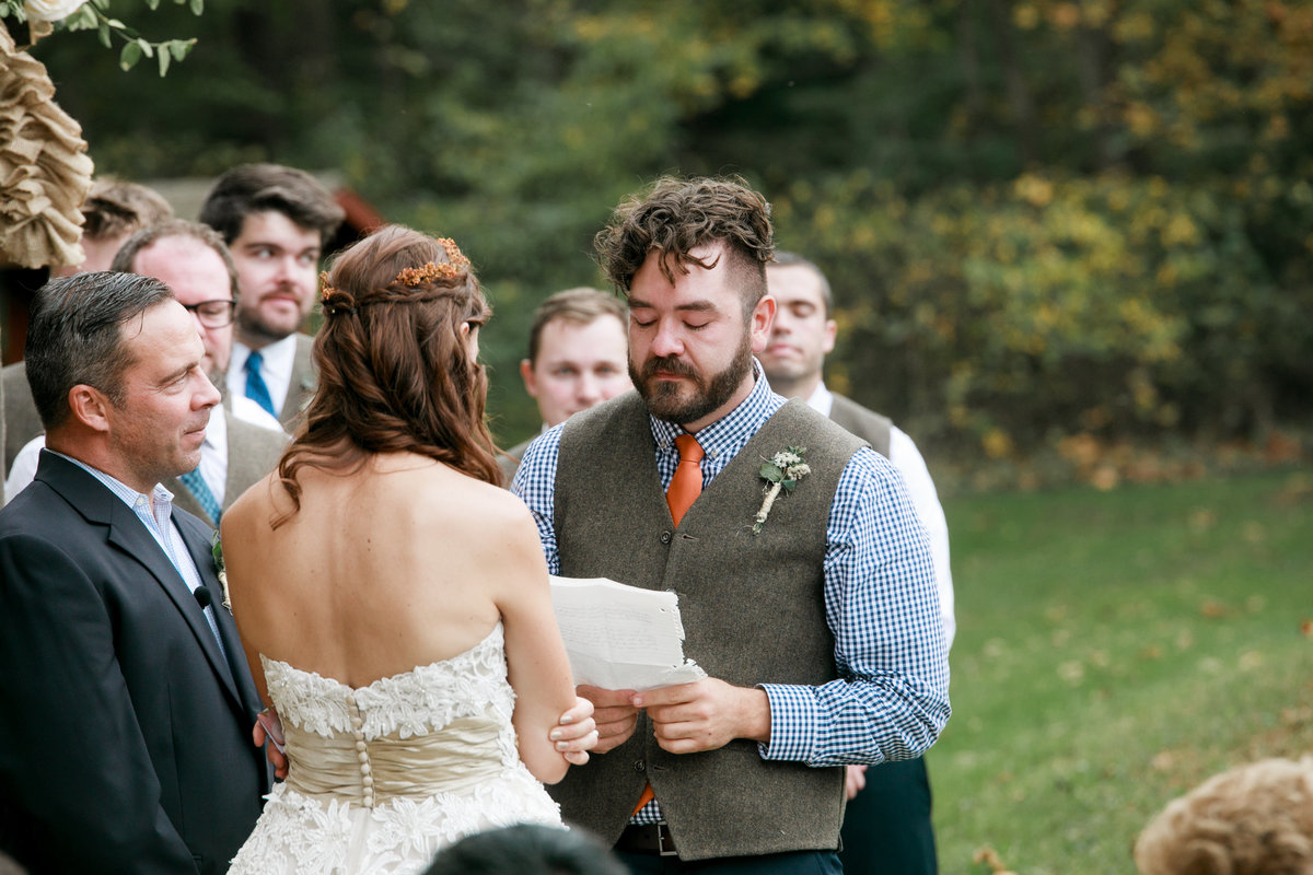 reading of vows at outdoor wedding
