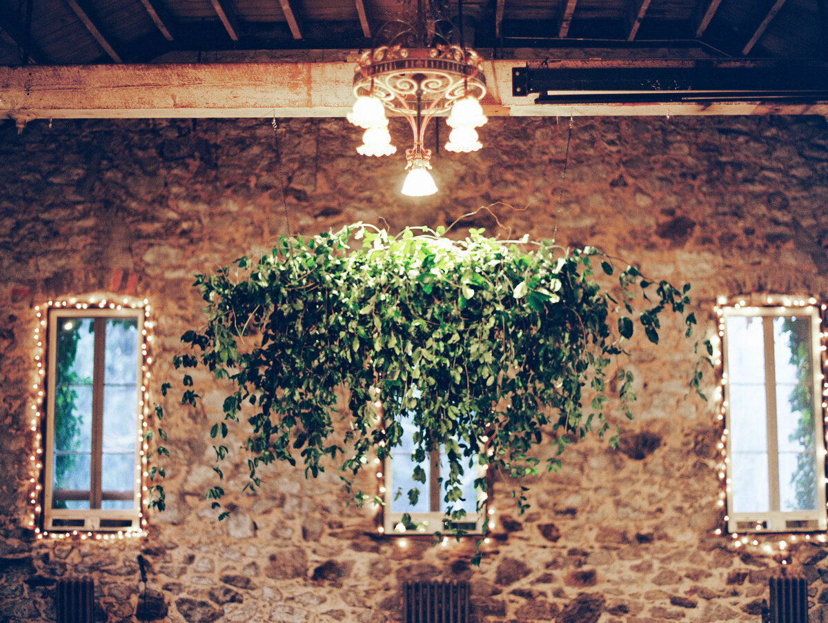 Hanging greenery at wedding ceremony
