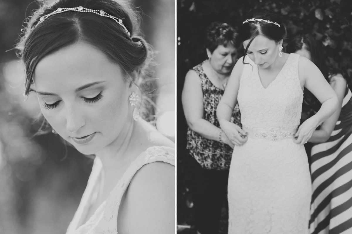black and white photos of bridal portrait and bride getting ready in Oregon City, OR | Susie Moreno Photography