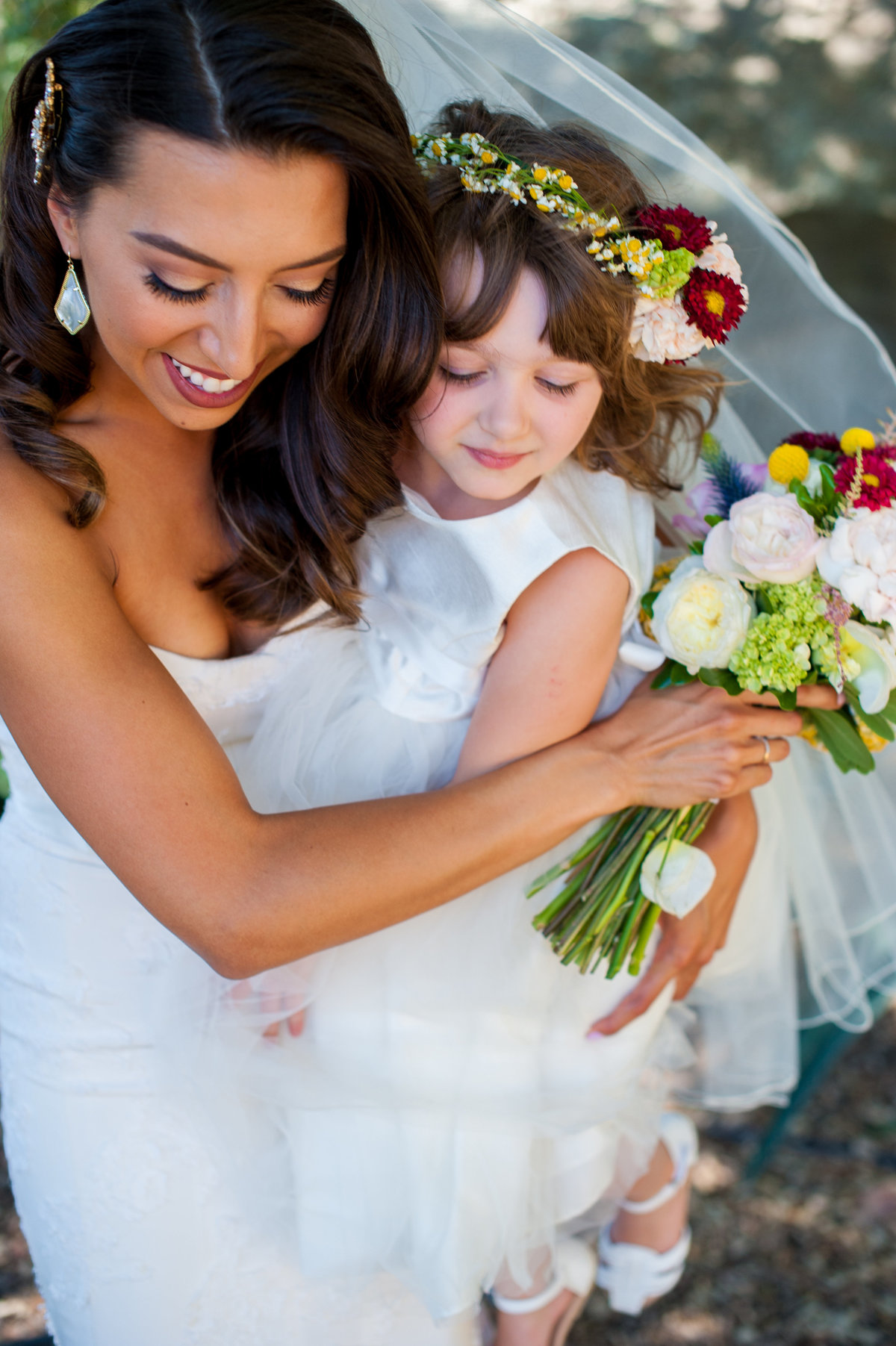 San Diego bride and flower girl at Milagro Winery