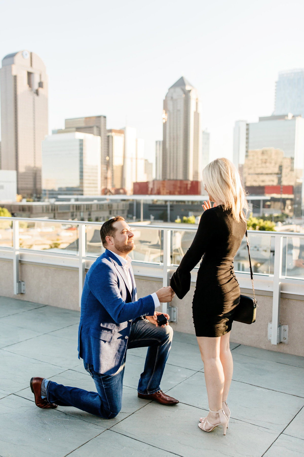 Eric & Megan - Downtown Dallas Rooftop Proposal & Engagement Session-26