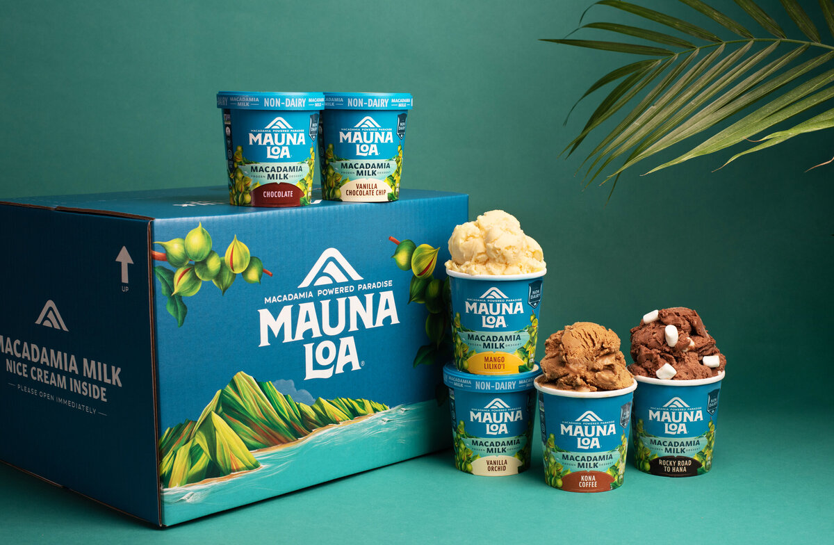 mauna loa mac nut ice cream product photography