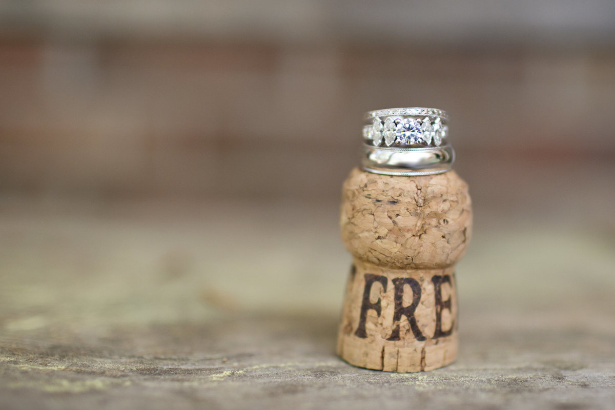wedding rings on cork