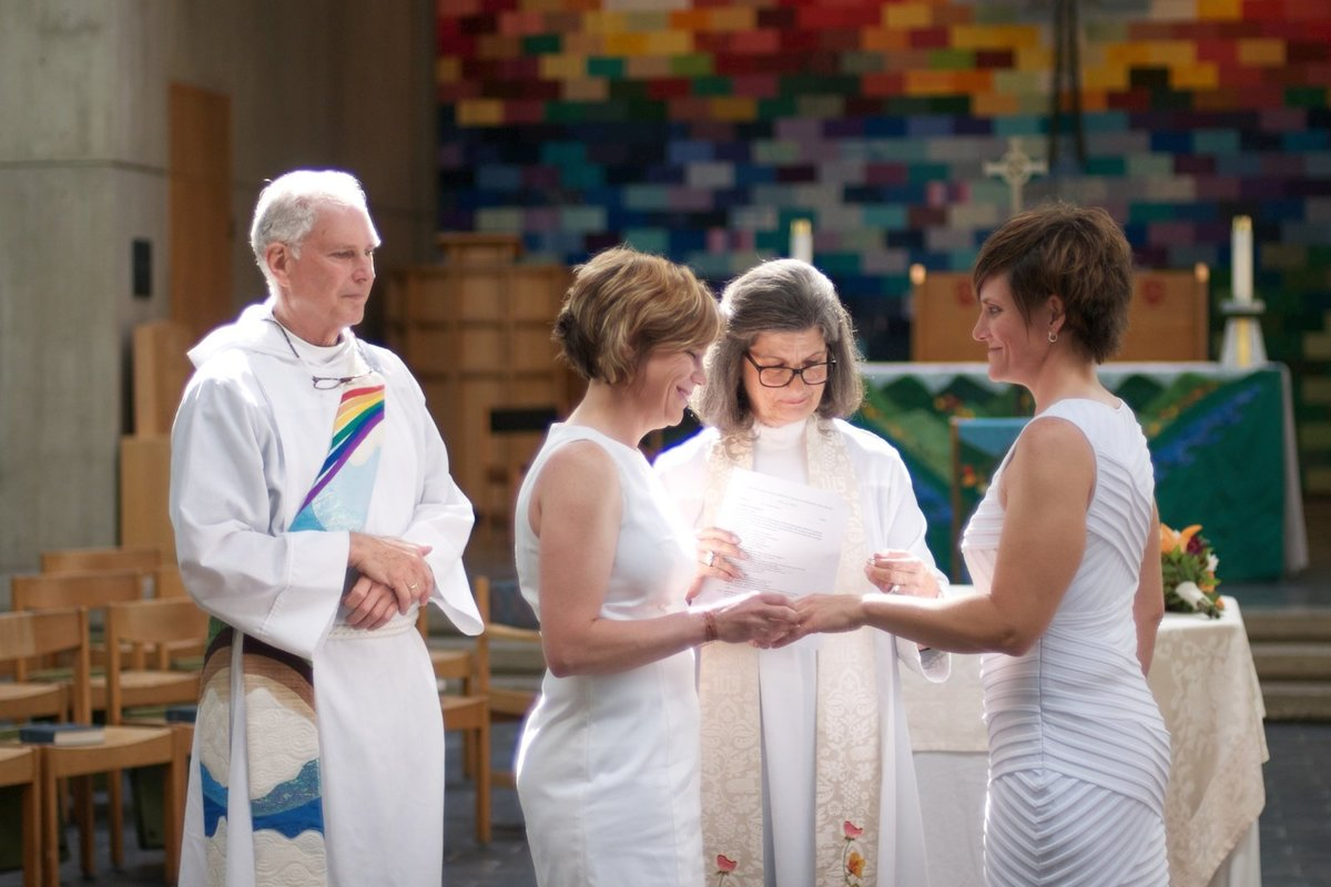 same sex wedding in Burlington of two brides