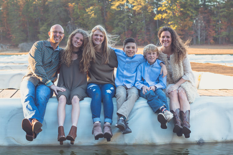 Family portrait on the dock Lake Lanier