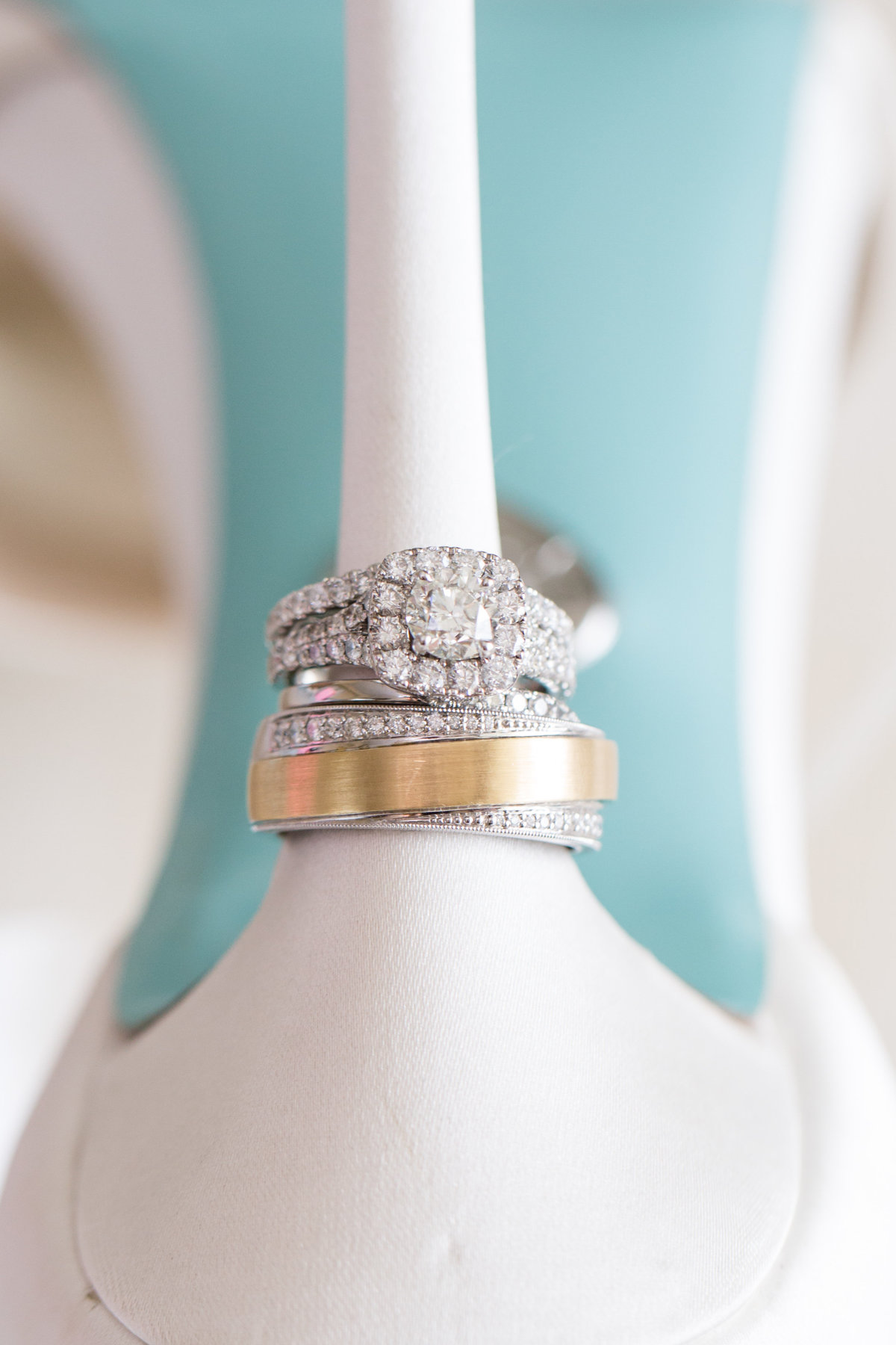 rings stacked on heel