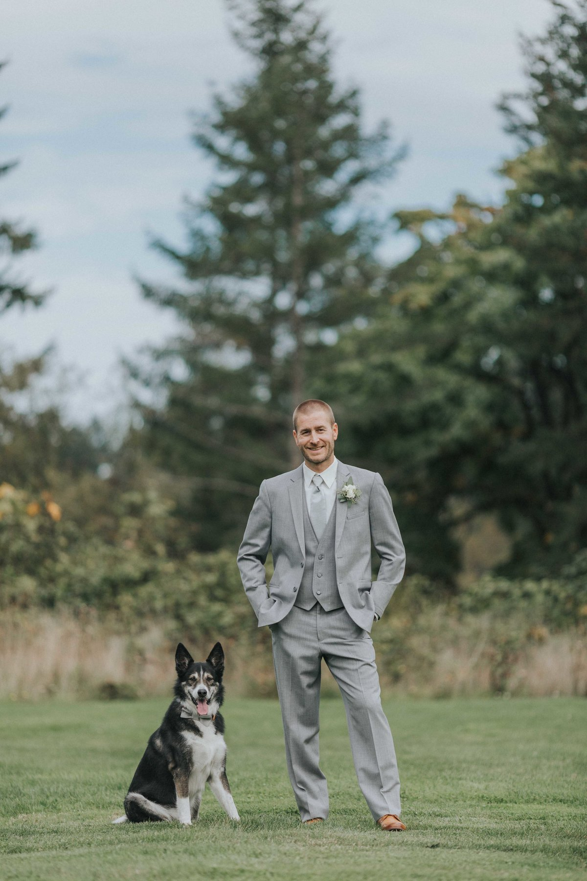Groom and his best friend right before the ceremony at Church and State Winery in Victoria BC